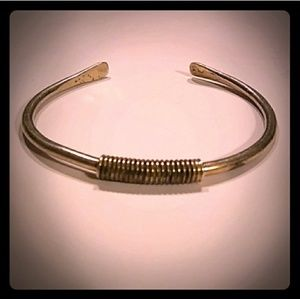 Vintage Sterling Silver Cuff w Wire Wrap Detail